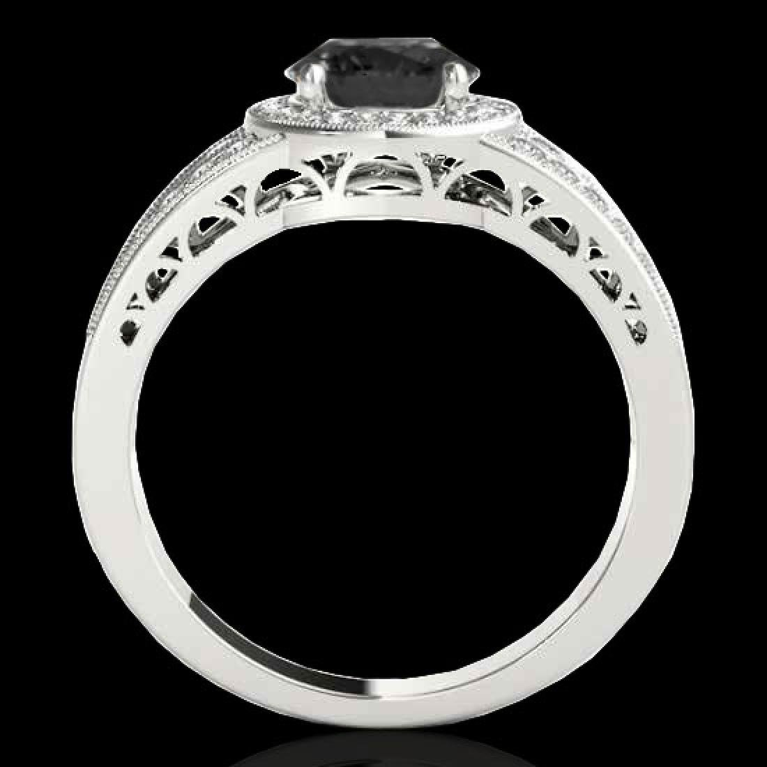 1.5 CTW Certified VS Black Diamond Solitaire Halo Ring - 2