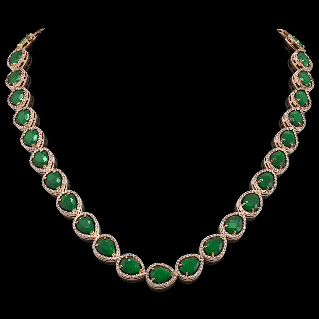 64.01 CTW Emerald & Diamond Halo Necklace 10K Rose Gold
