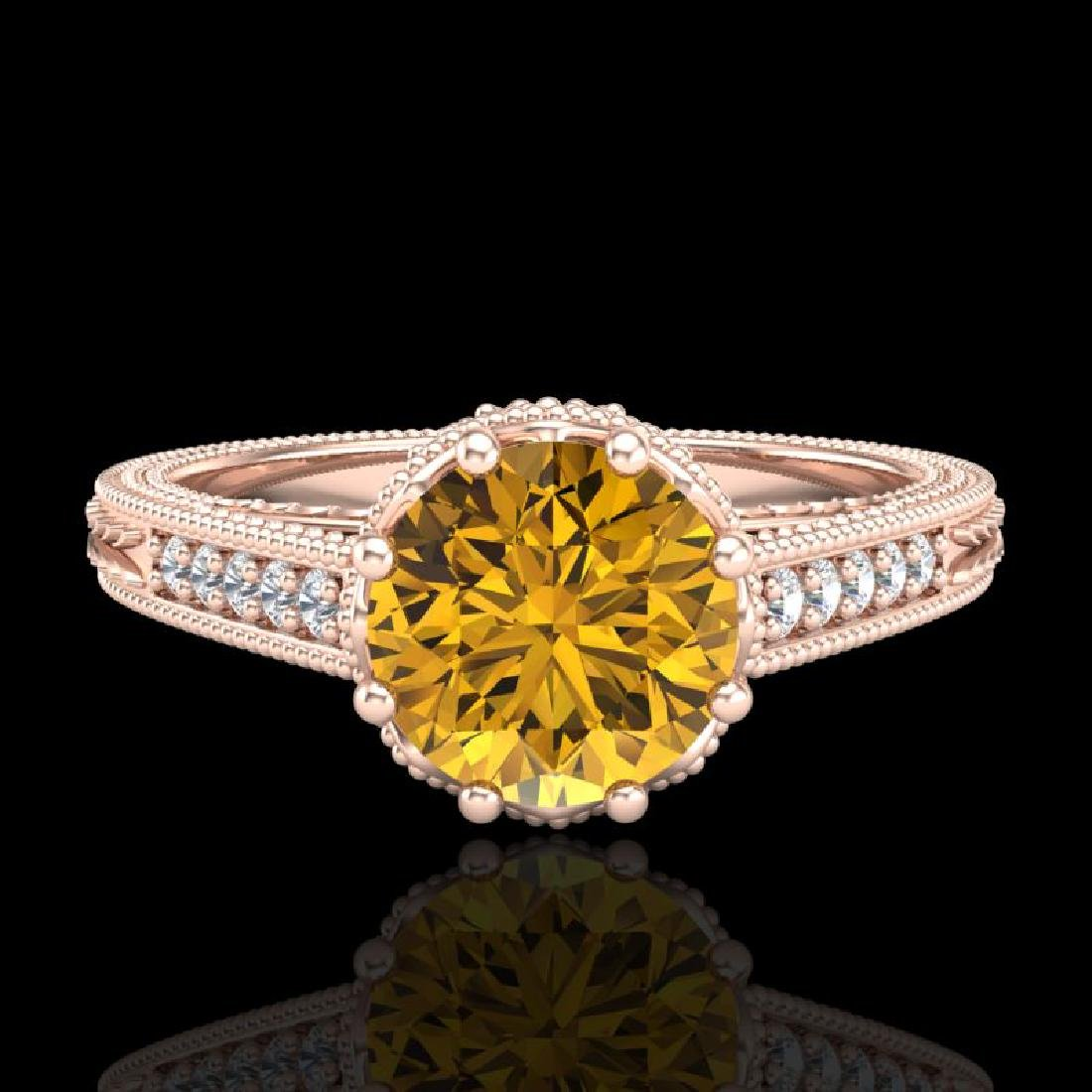 1.25 CTW Intense Fancy Yellow Diamond Engagement Art - 2
