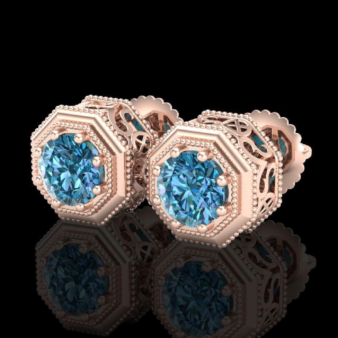 1.07 CTW Fancy Intense Blue Diamond Art Deco Stud