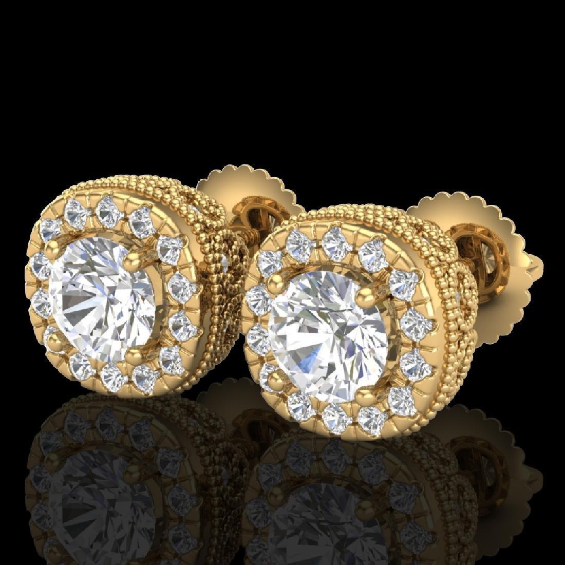 1.69 CTW VS/SI Diamond Solitaire Art Deco Stud Earrings