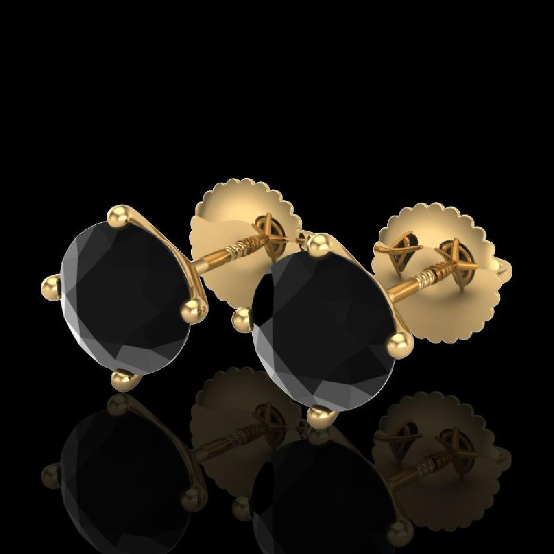 2.5 CTW Fancy Black Diamond Solitaire Art Deco Stud