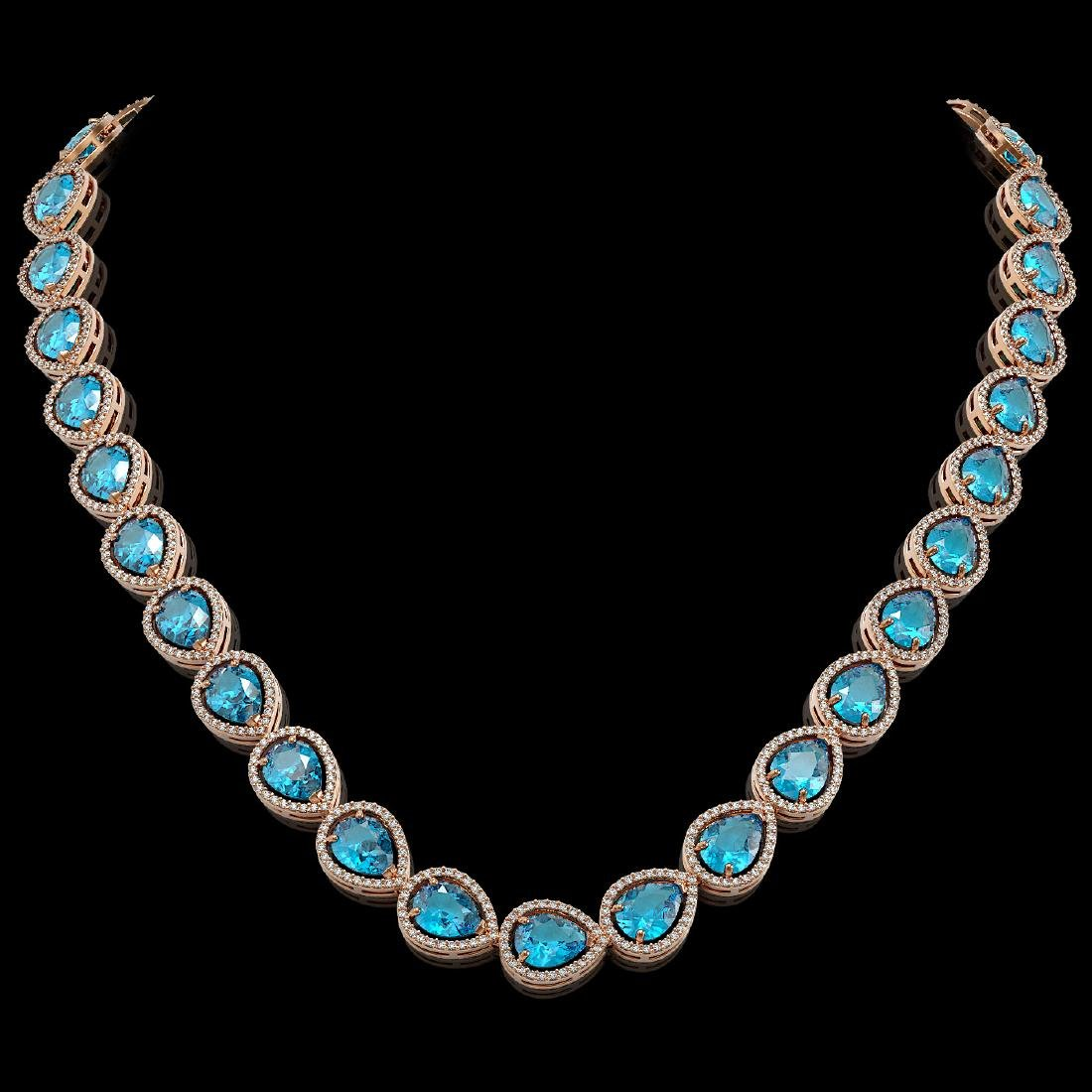 43.2 CTW Swiss Topaz & Diamond Halo Necklace 10K Rose