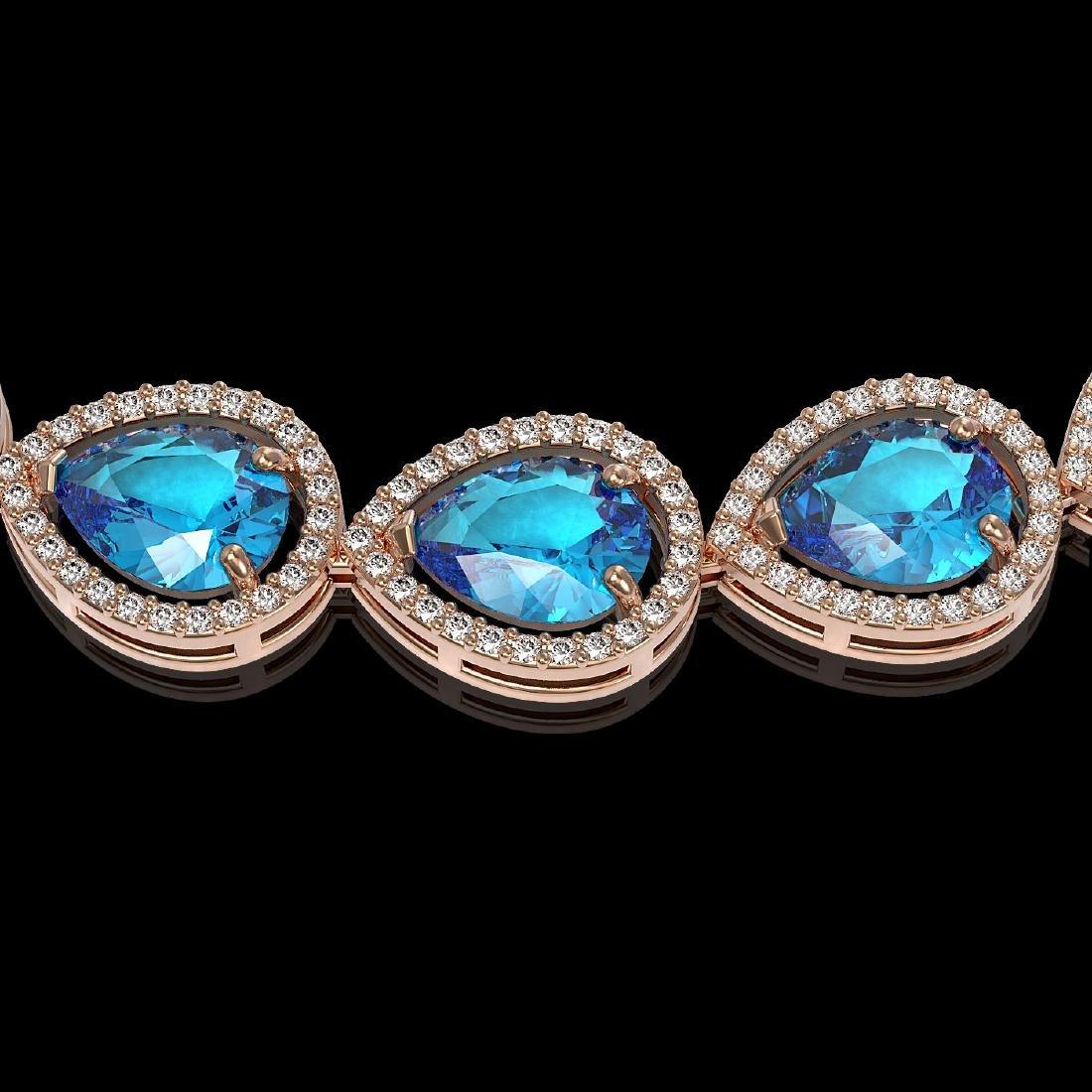 43.2 CTW Swiss Topaz & Diamond Halo Necklace 10K Rose - 3