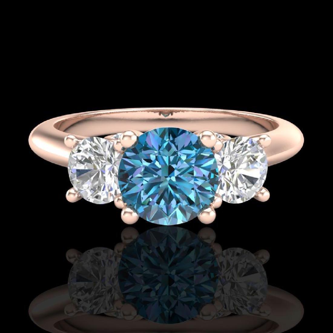 1.5 CTW Intense Blue Diamond Solitaire Art Deco 3 Stone - 2