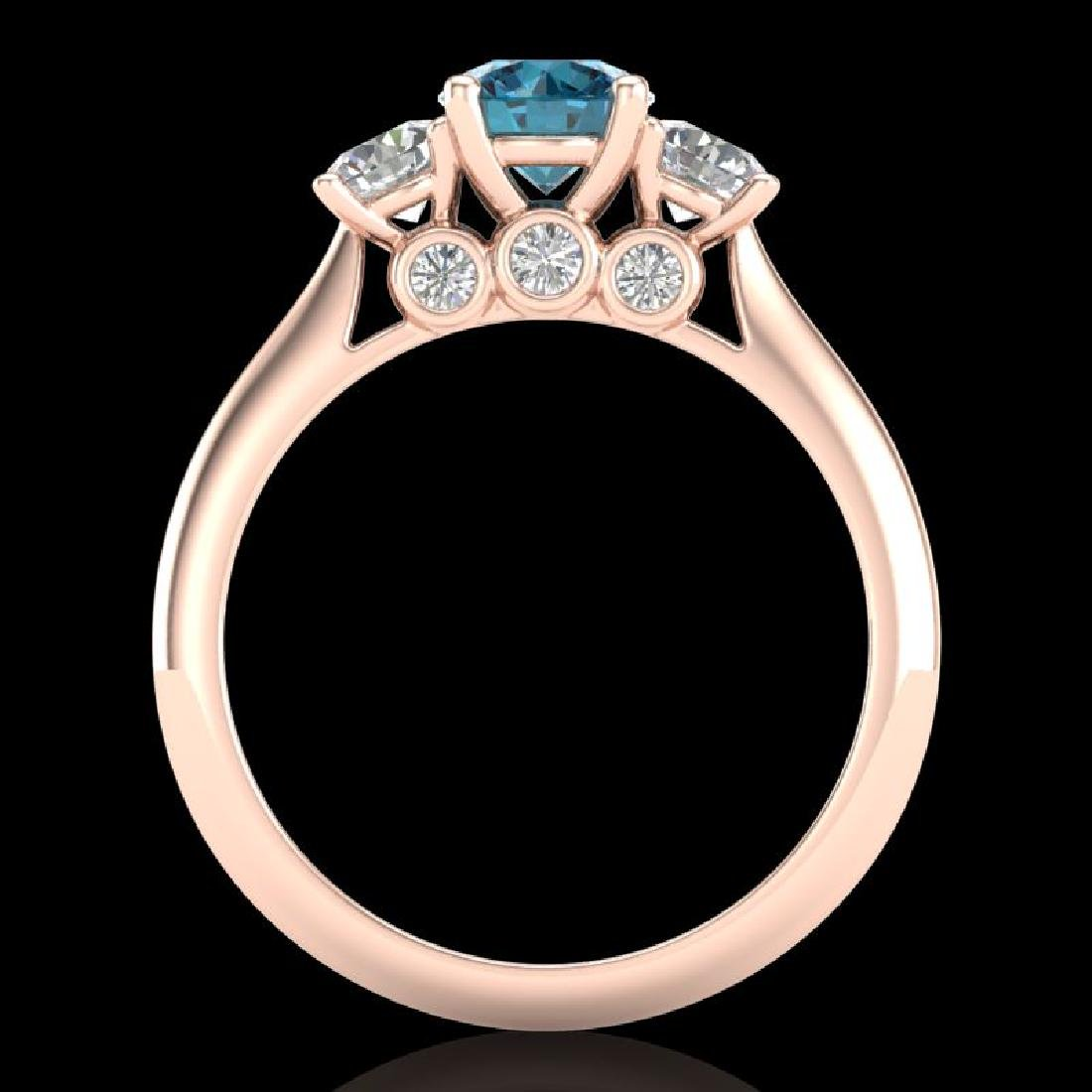 1.5 CTW Intense Blue Diamond Solitaire Art Deco 3 Stone - 3
