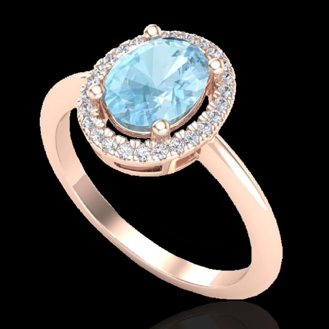 1.50 CTW Aquamarine & Micro VS/SI Diamond Ring - 2