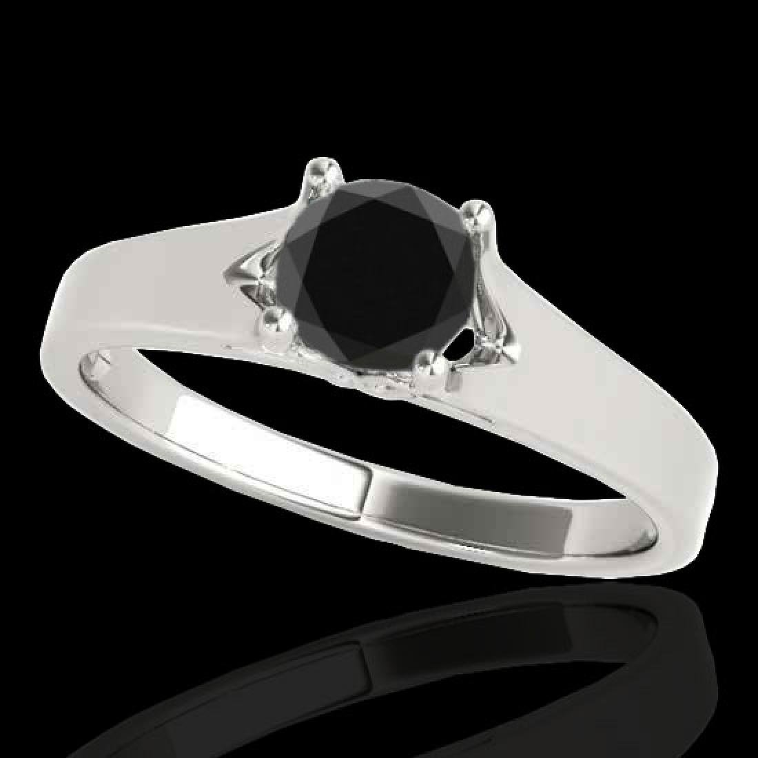 1 CTW Certified VS Black Diamond Solitaire Ring 10K