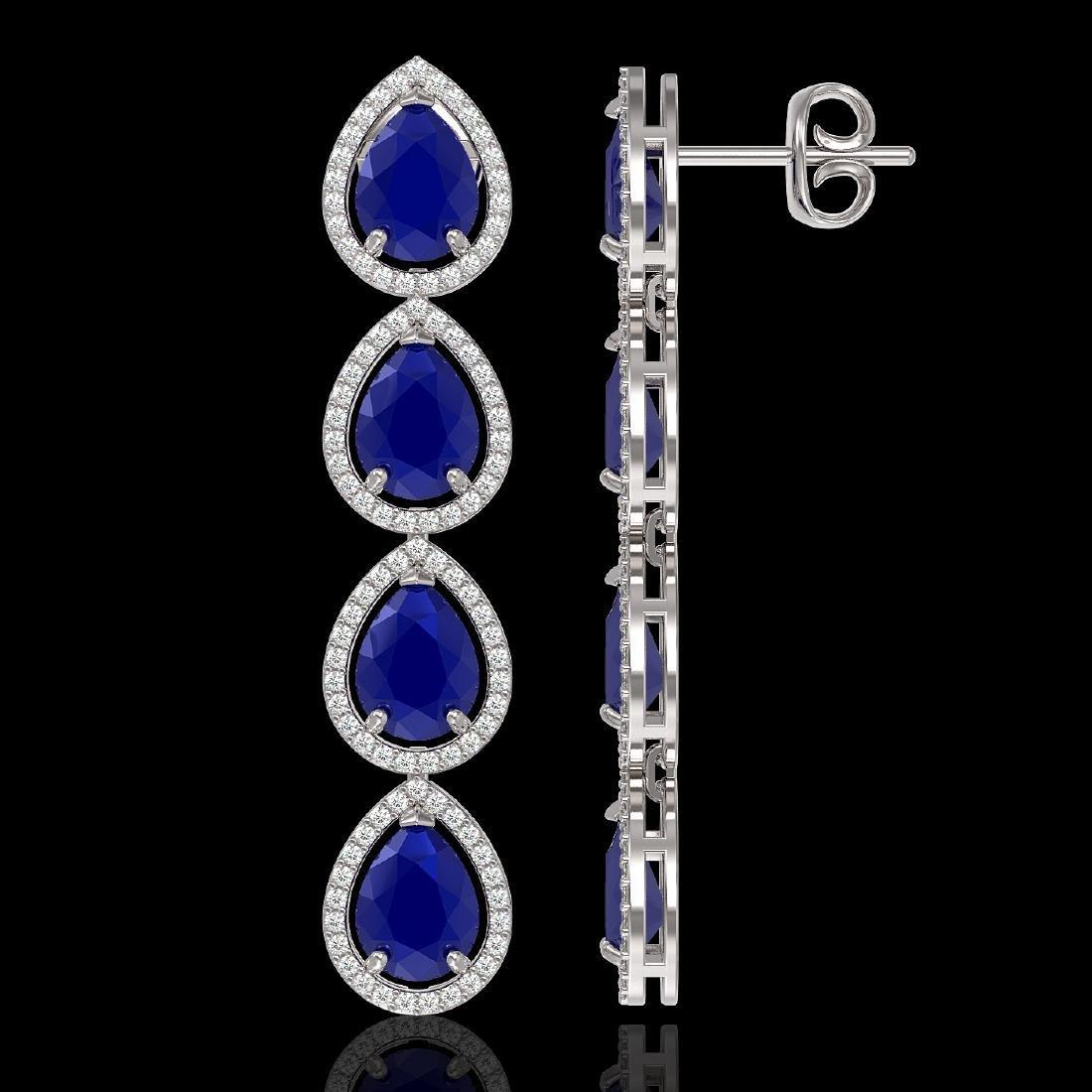 16.01 CTW Sapphire & Diamond Halo Earrings 10K White - 2