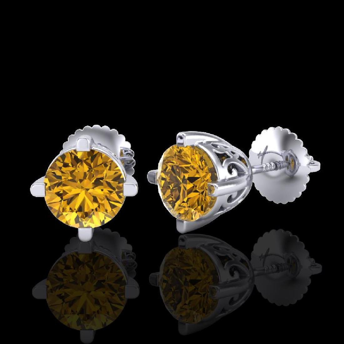 1.5 CTW Intense Fancy Yellow Diamond Art Deco Stud - 2