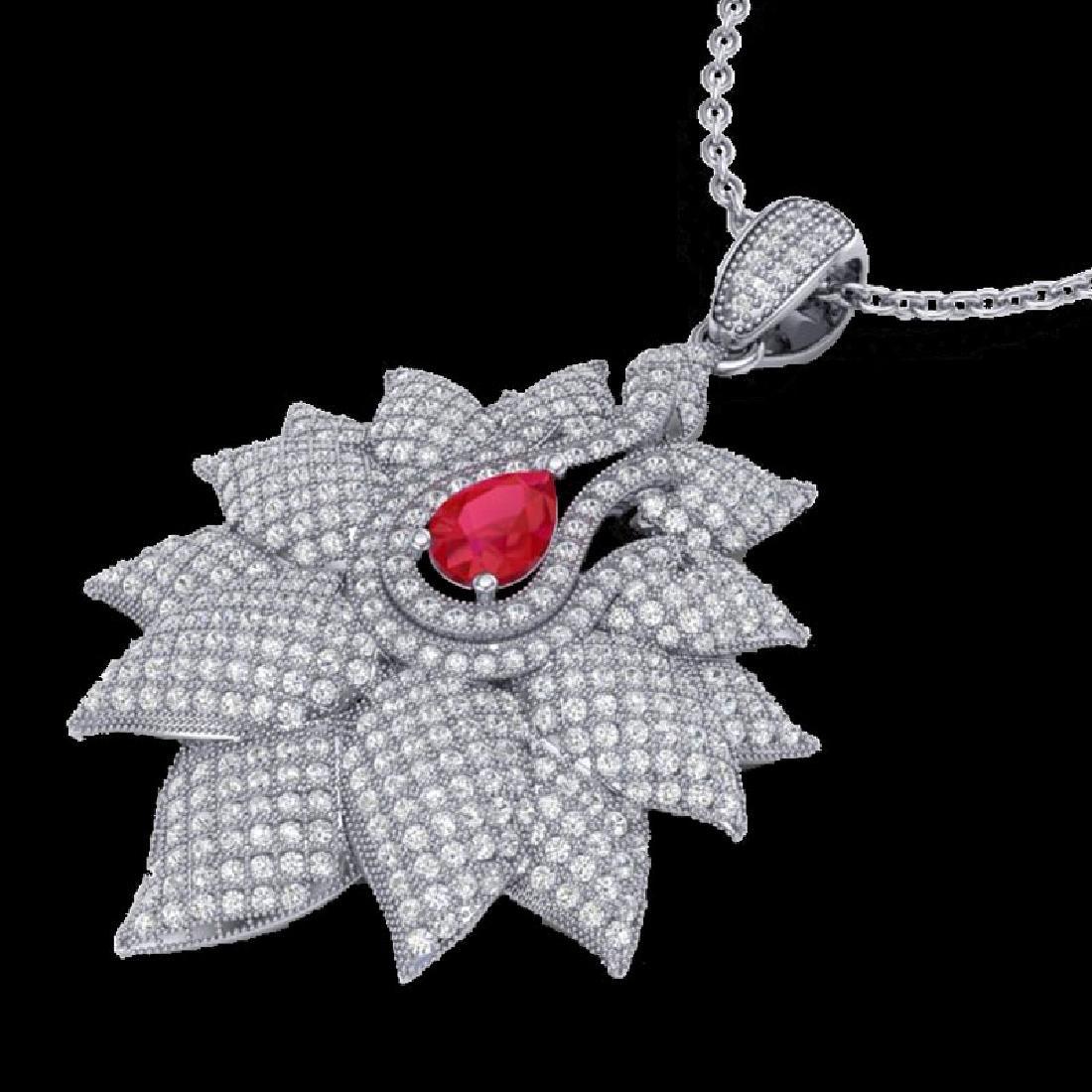 3 CTW Ruby & Micro Pave VS/SI Diamond Designer Necklace