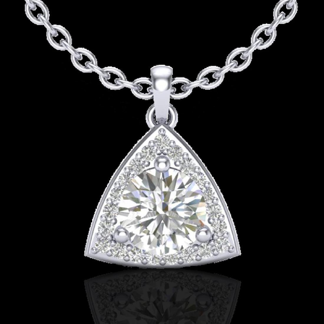 1.50 CTW Micro Pave Halo VS/SI Diamond Necklace 18K