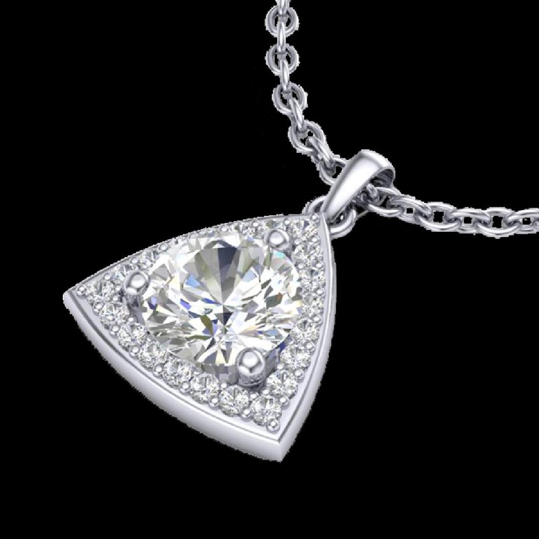 1.50 CTW Micro Pave Halo VS/SI Diamond Necklace 18K - 2
