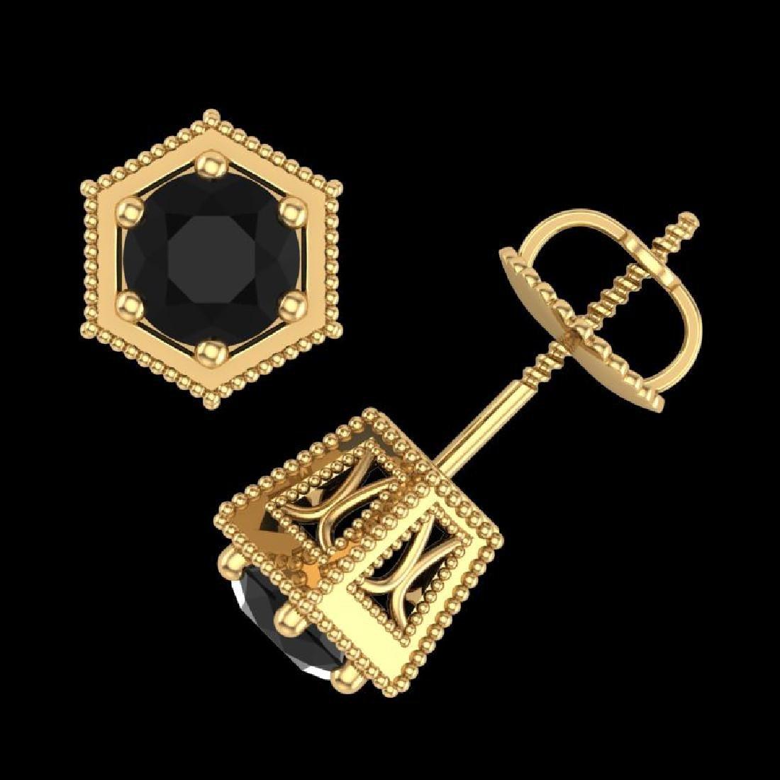 1.15 CTW Fancy Black Diamond Solitaire Art Deco Stud - 3
