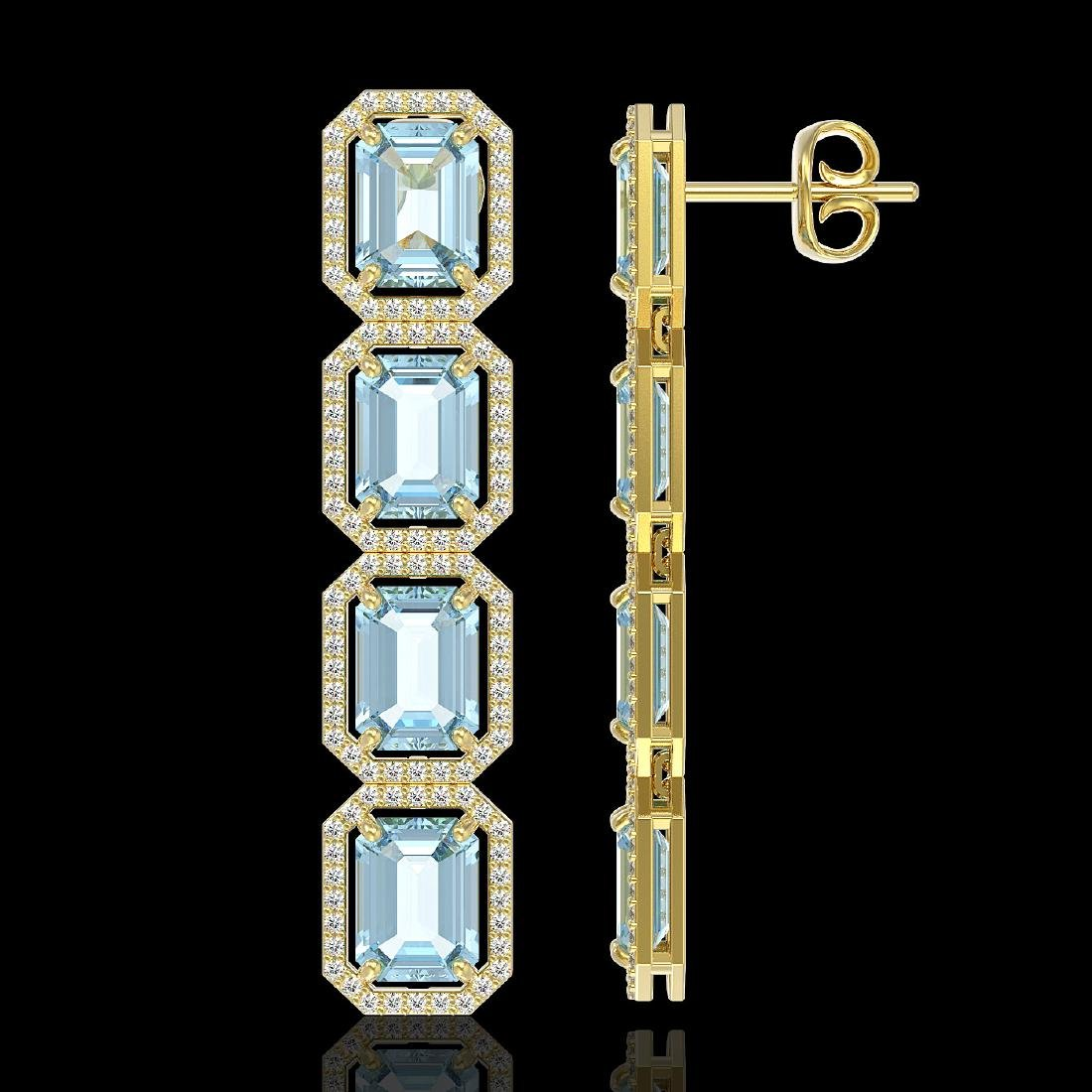 19.49 CTW Aquamarine & Diamond Halo Earrings 10K Yellow - 2