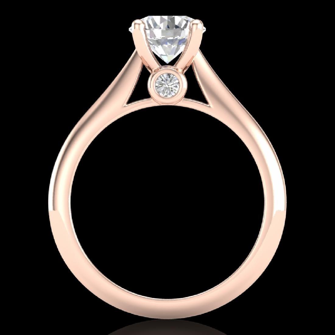 1.36 CTW VS/SI Diamond Solitaire Art Deco Ring 18K Rose - 3