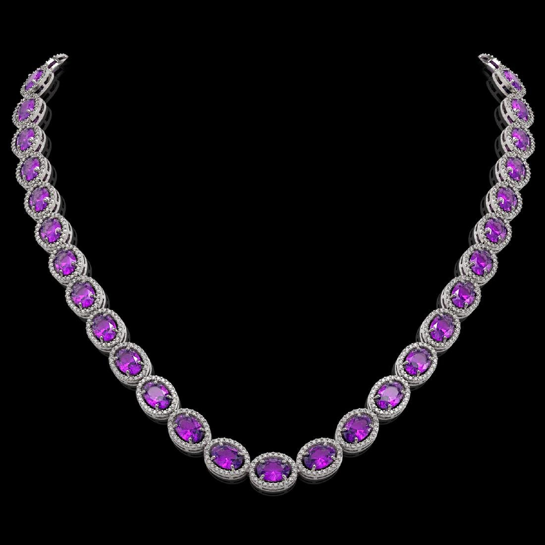 45.16 CTW Amethyst & Diamond Halo Necklace 10K White