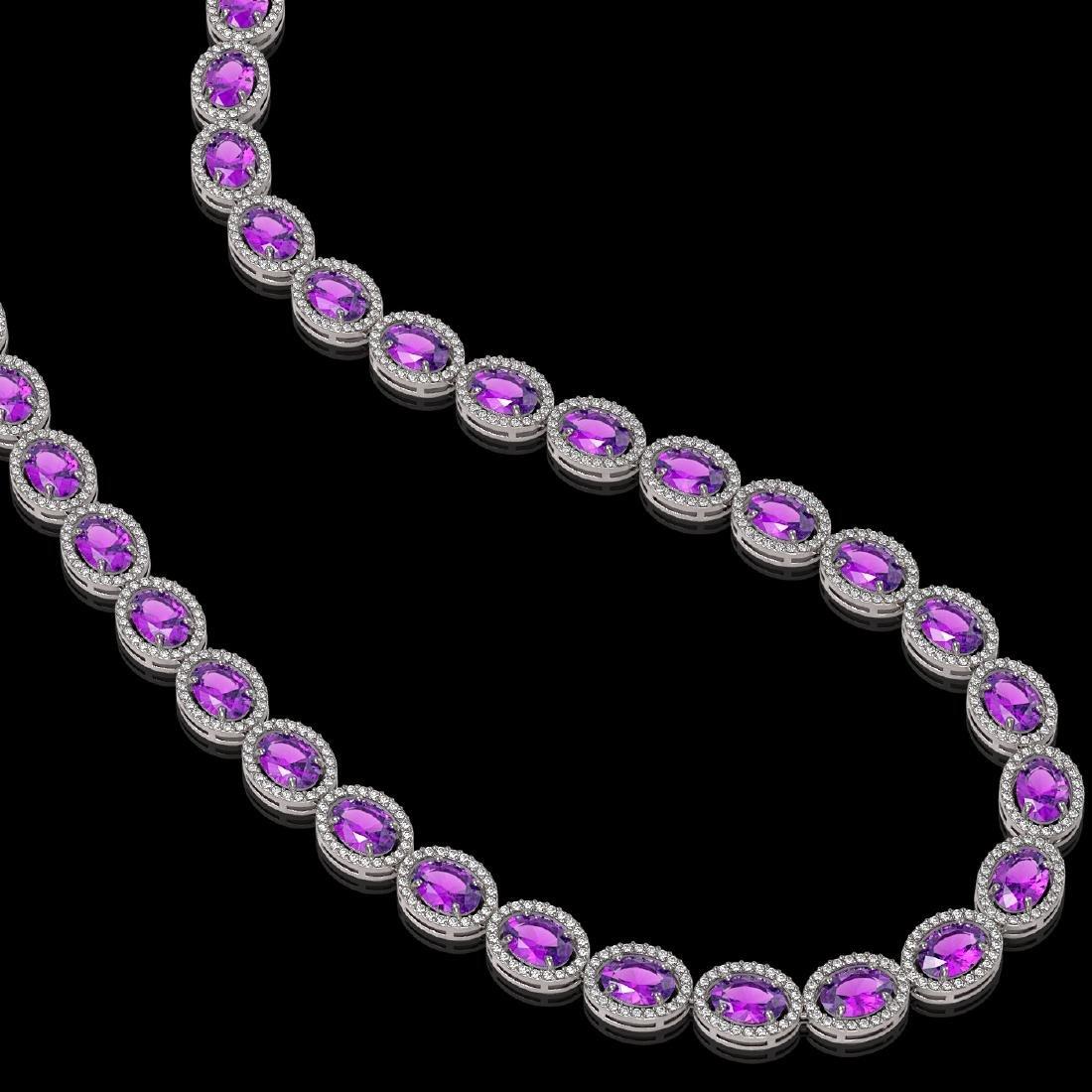 45.16 CTW Amethyst & Diamond Halo Necklace 10K White - 2