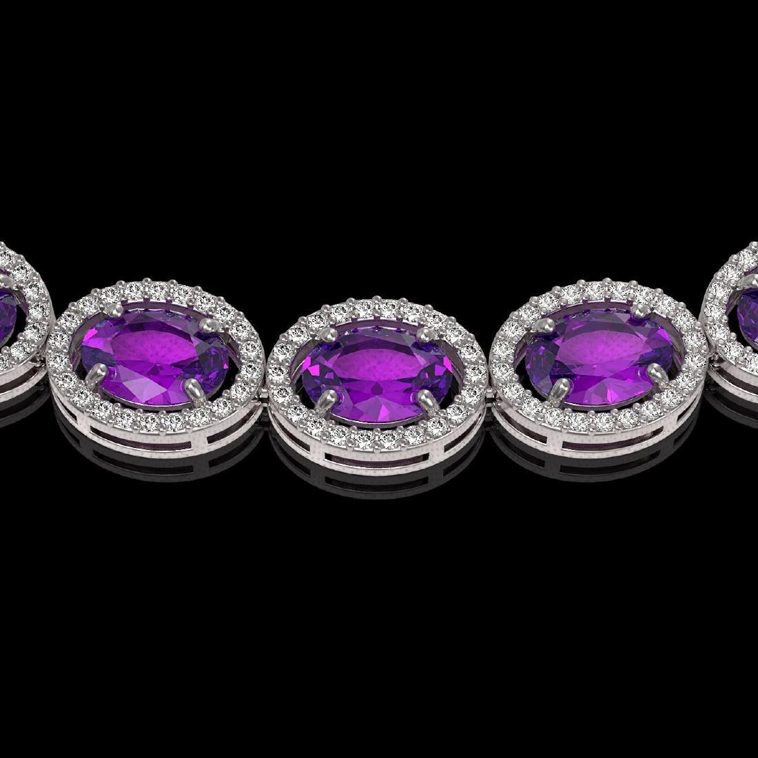 45.16 CTW Amethyst & Diamond Halo Necklace 10K White - 3