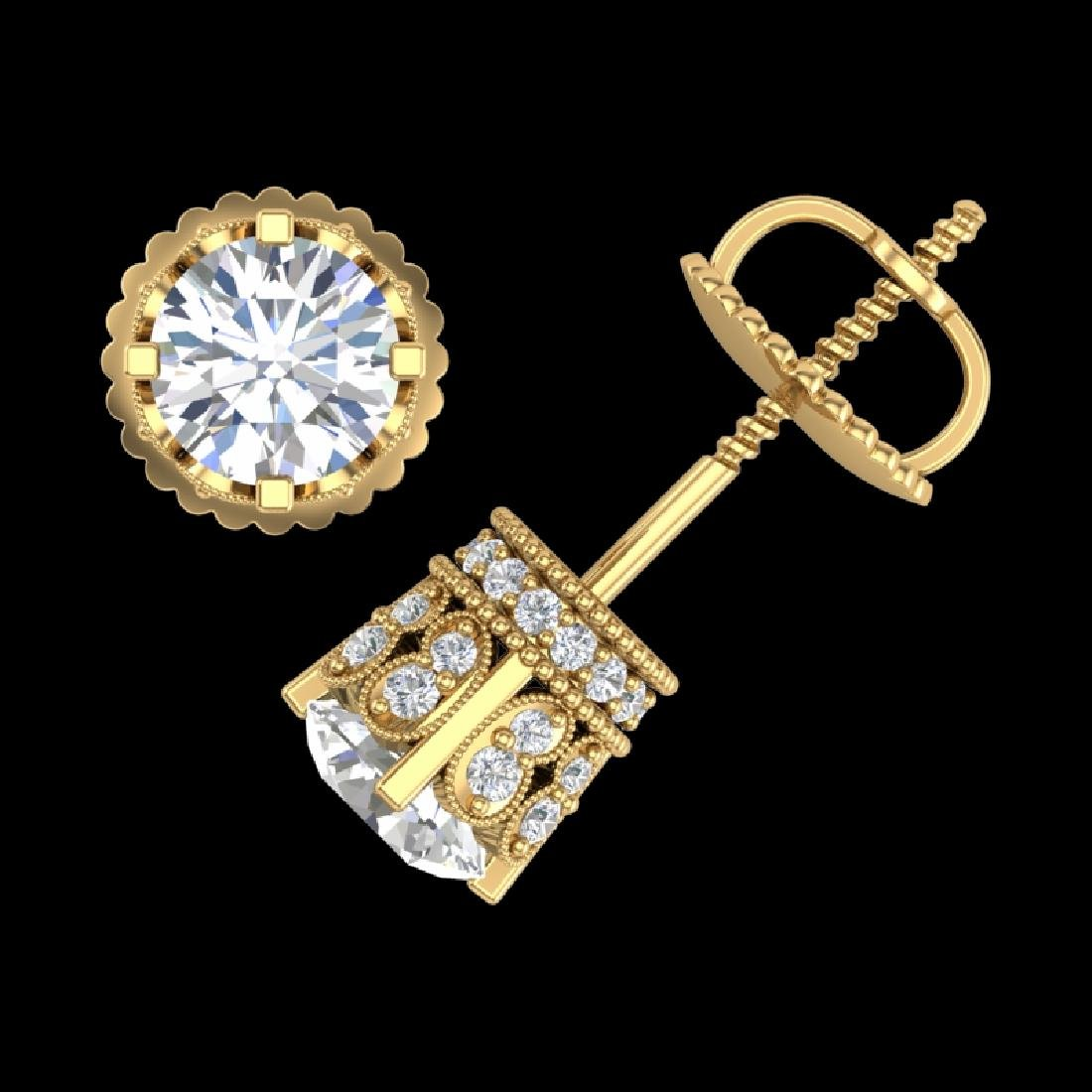 1.75 CTW VS/SI Diamond Solitaire Art Deco Stud Earrings