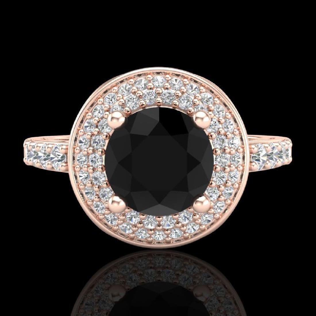 1.7 CTW Fancy Black Diamond Solitaire Engagement Art - 2