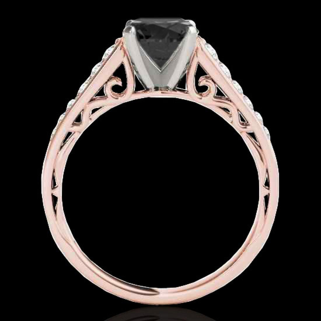 1.35 CTW Certified VS Black Diamond Solitaire Ring 10K - 2