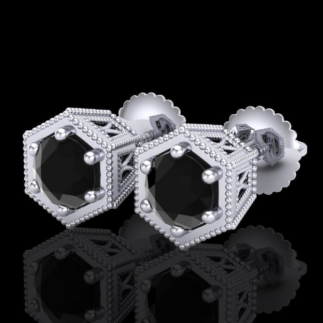1.15 CTW Fancy Black Diamond Solitaire Art Deco Stud