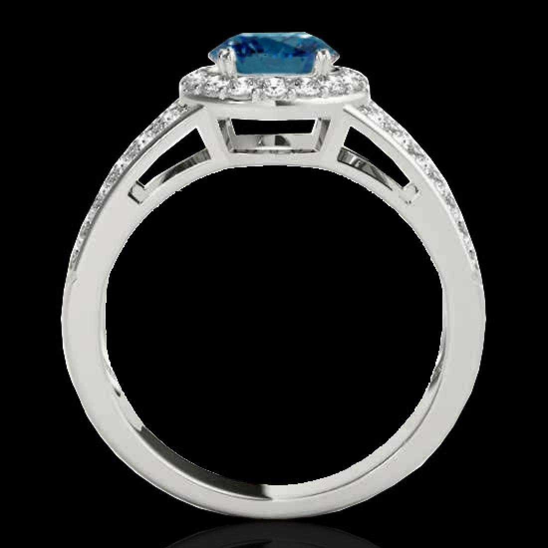 1.6 CTW SI Certified Fancy Blue Diamond Solitaire Halo - 2