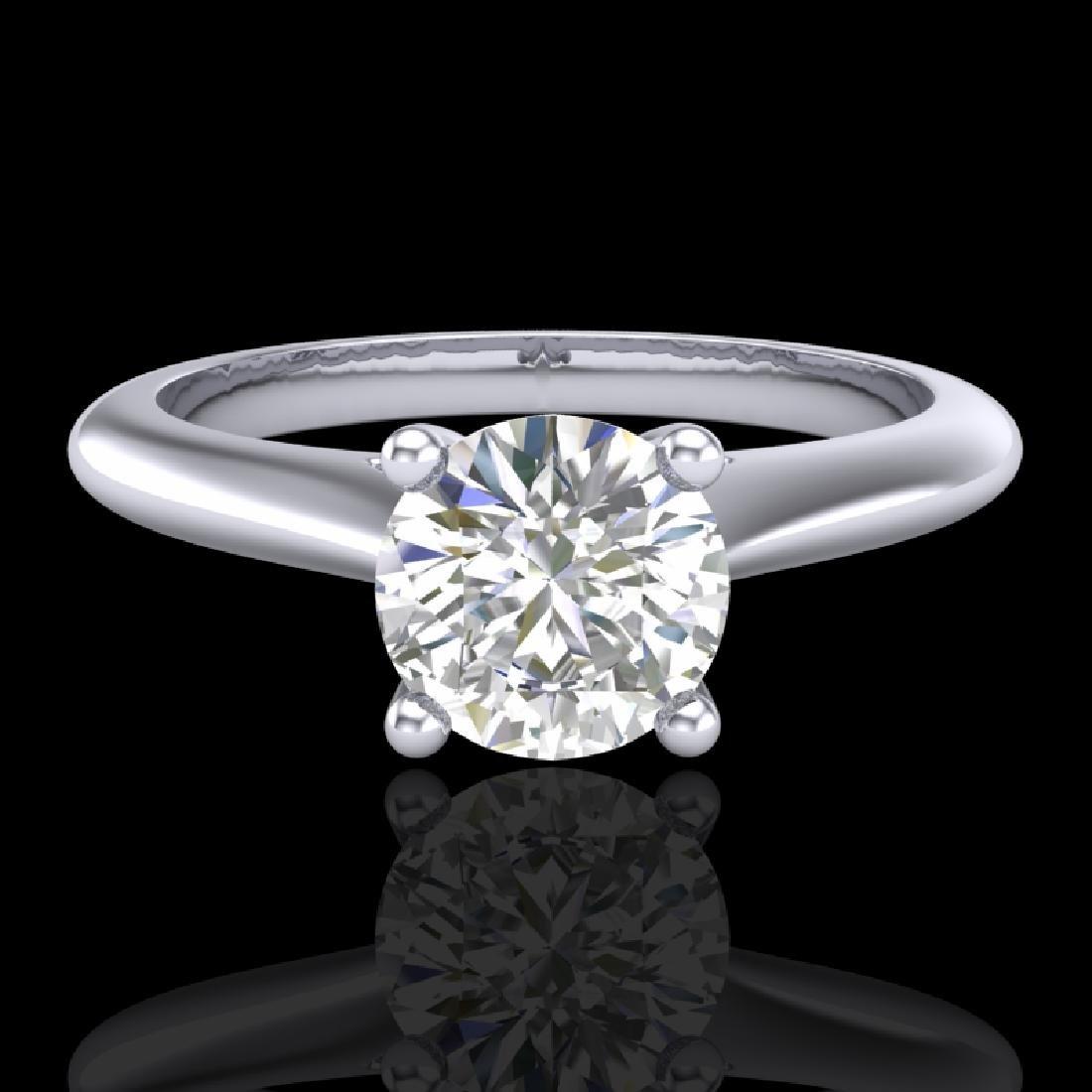 0.83 CTW VS/SI Diamond Solitaire Art Deco Ring 18K - 2