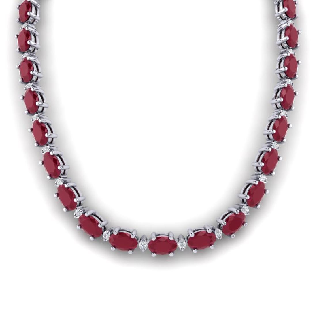 35 CTW Ruby & VS/SI Diamond Eternity Tennis Necklace - 3