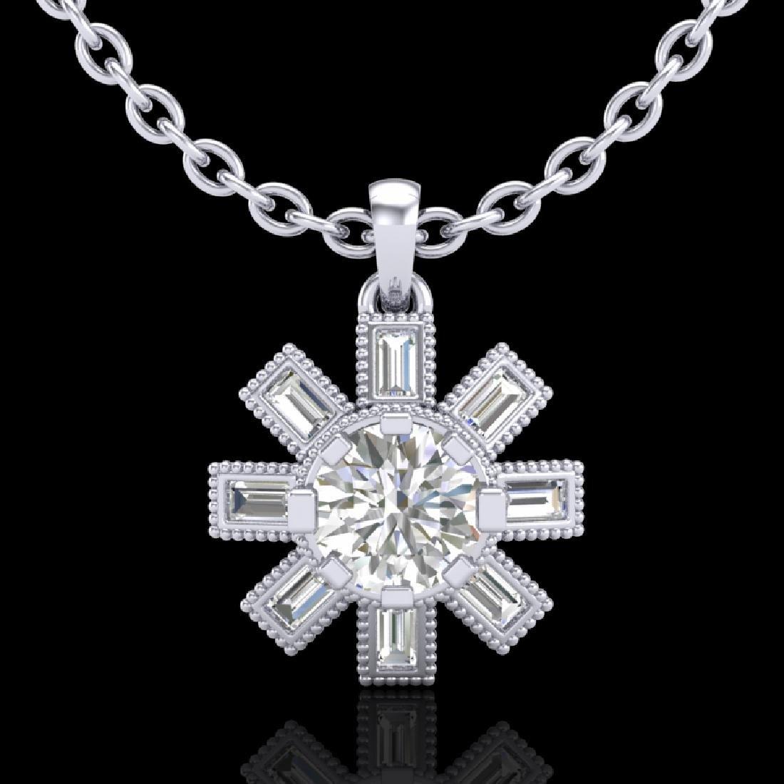 1.33 CTW VS/SI Diamond Solitaire Art Deco Stud Necklace