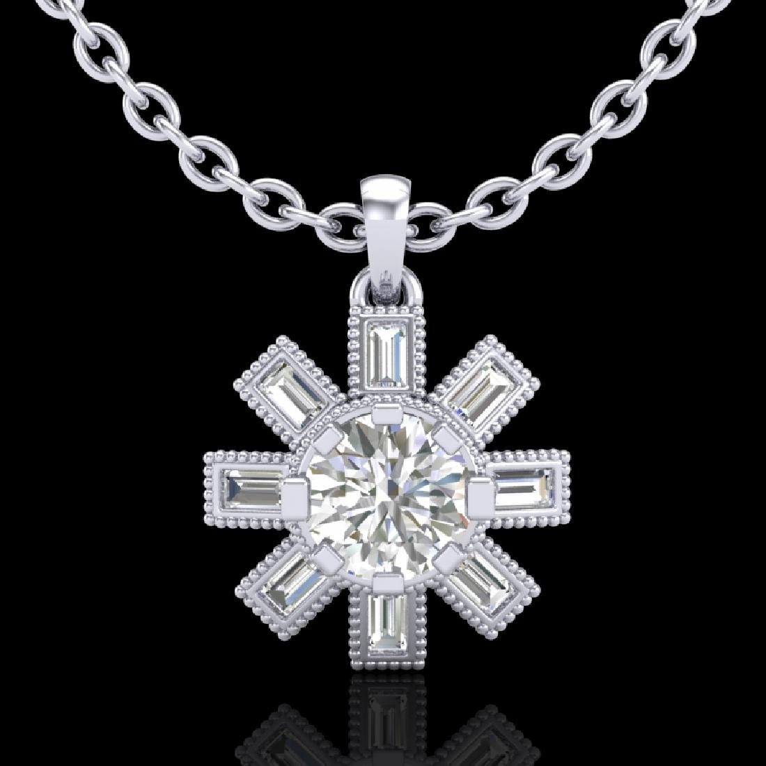 1.33 CTW VS/SI Diamond Solitaire Art Deco Stud Necklace