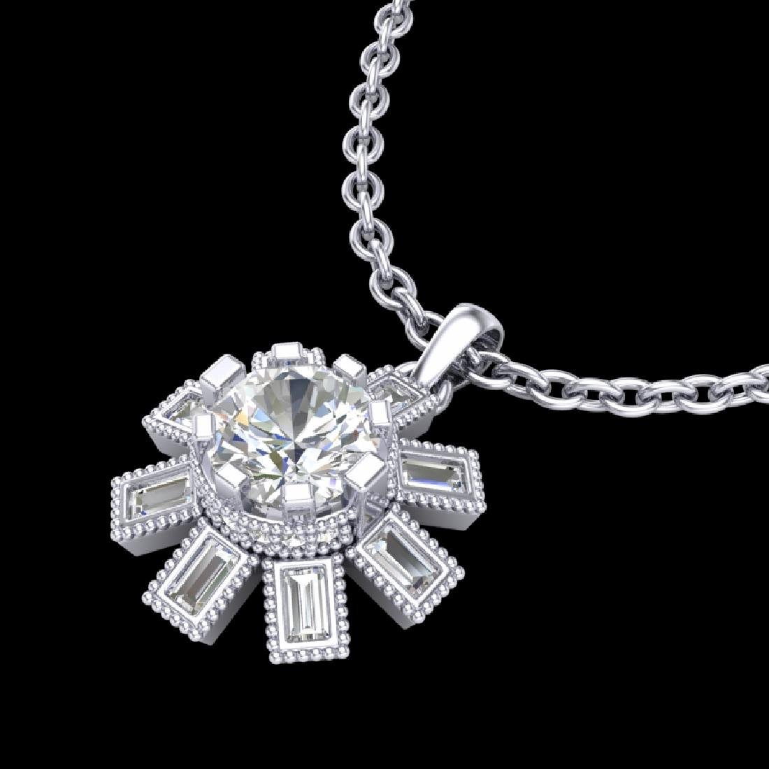 1.33 CTW VS/SI Diamond Solitaire Art Deco Stud Necklace - 2
