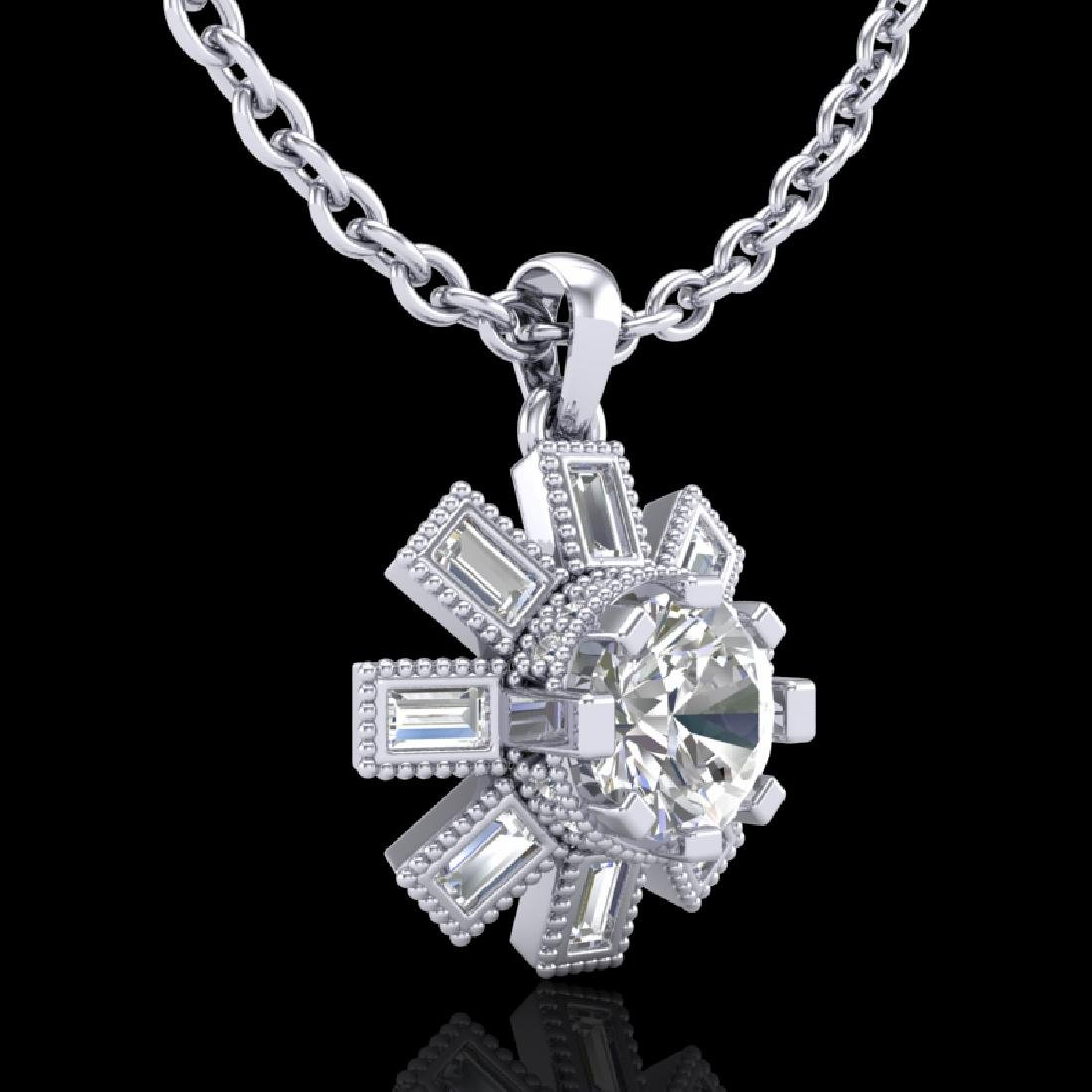 1.33 CTW VS/SI Diamond Solitaire Art Deco Stud Necklace - 3