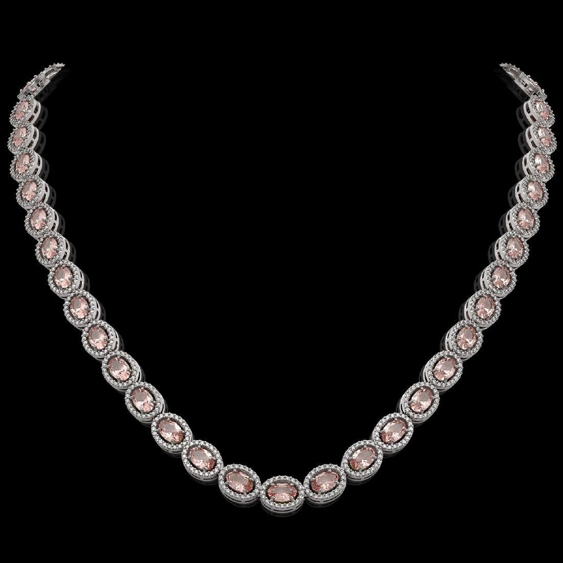 31.96 CTW Morganite & Diamond Halo Necklace 10K White