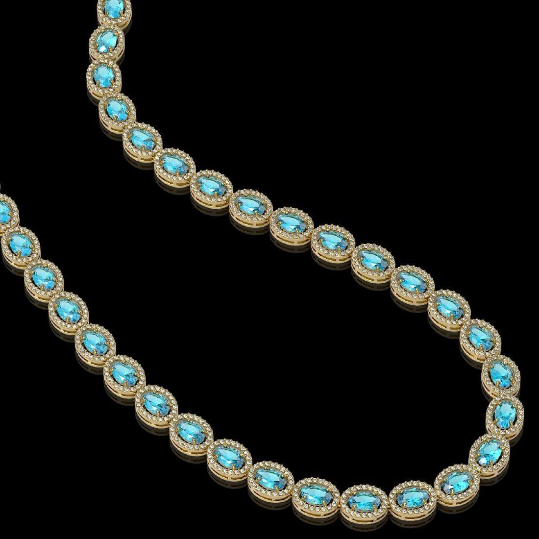 33.25 CTW Swiss Topaz & Diamond Halo Necklace 10K - 2