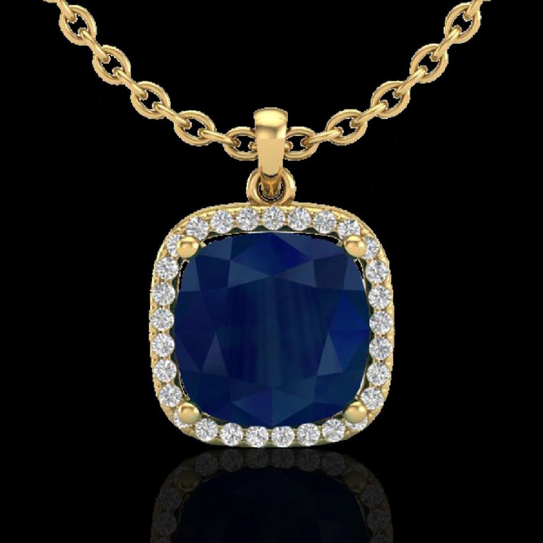 6 CTW Sapphire & Micro Pave Halo VS/SI Diamond Necklace - 2