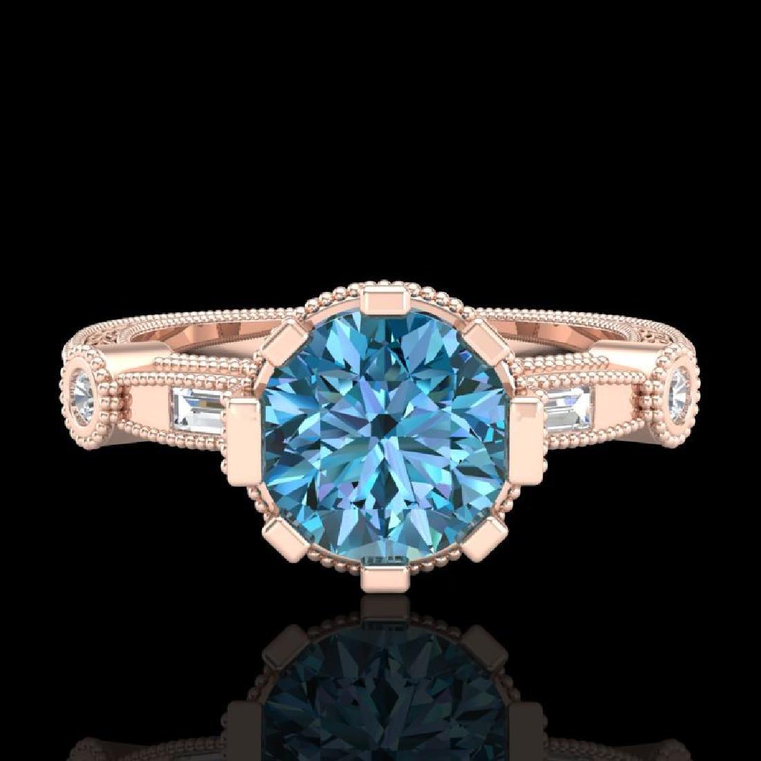 1.71 CTW Fancy Intense Blue Diamond Solitaire Art Deco - 2
