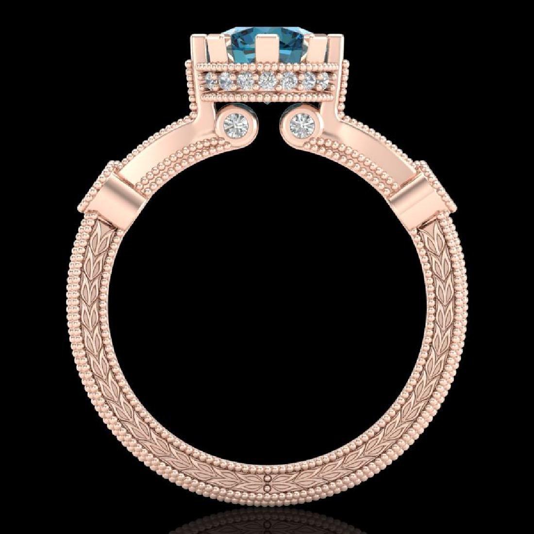 1.71 CTW Fancy Intense Blue Diamond Solitaire Art Deco - 3
