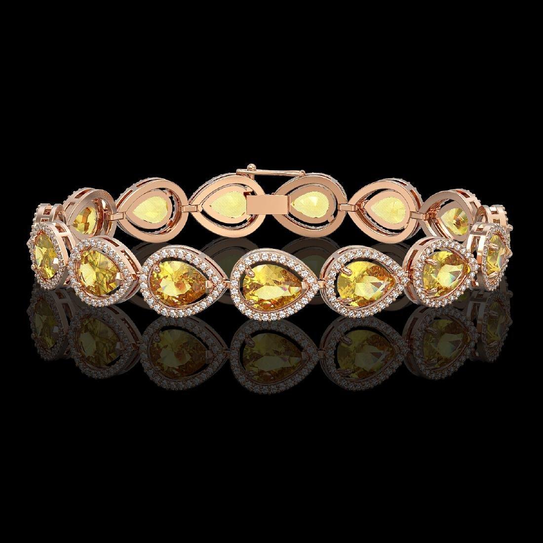 17.3 CTW Fancy Citrine & Diamond Halo Bracelet 10K Rose