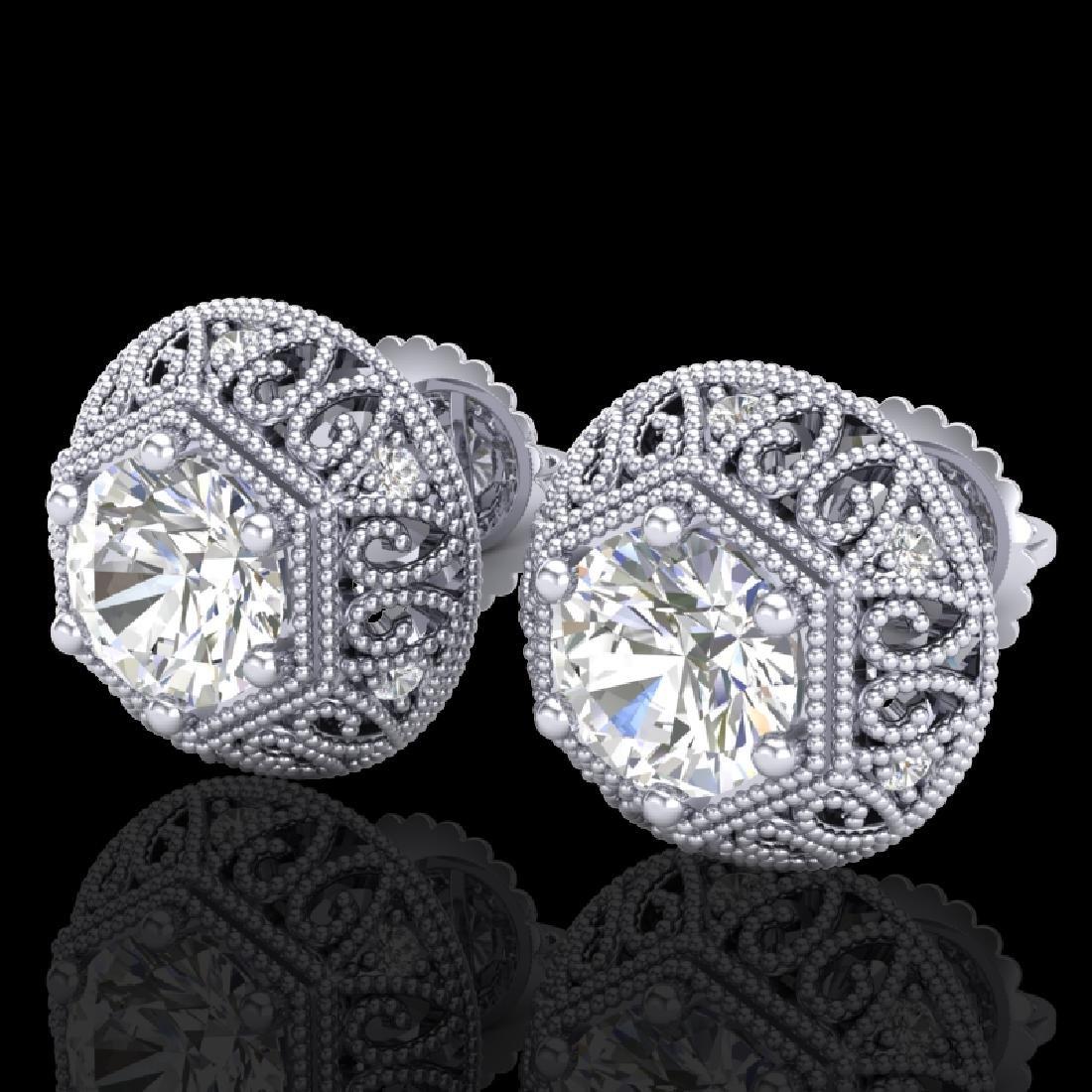 1.31 CTW VS/SI Diamond Solitaire Art Deco Stud Earrings