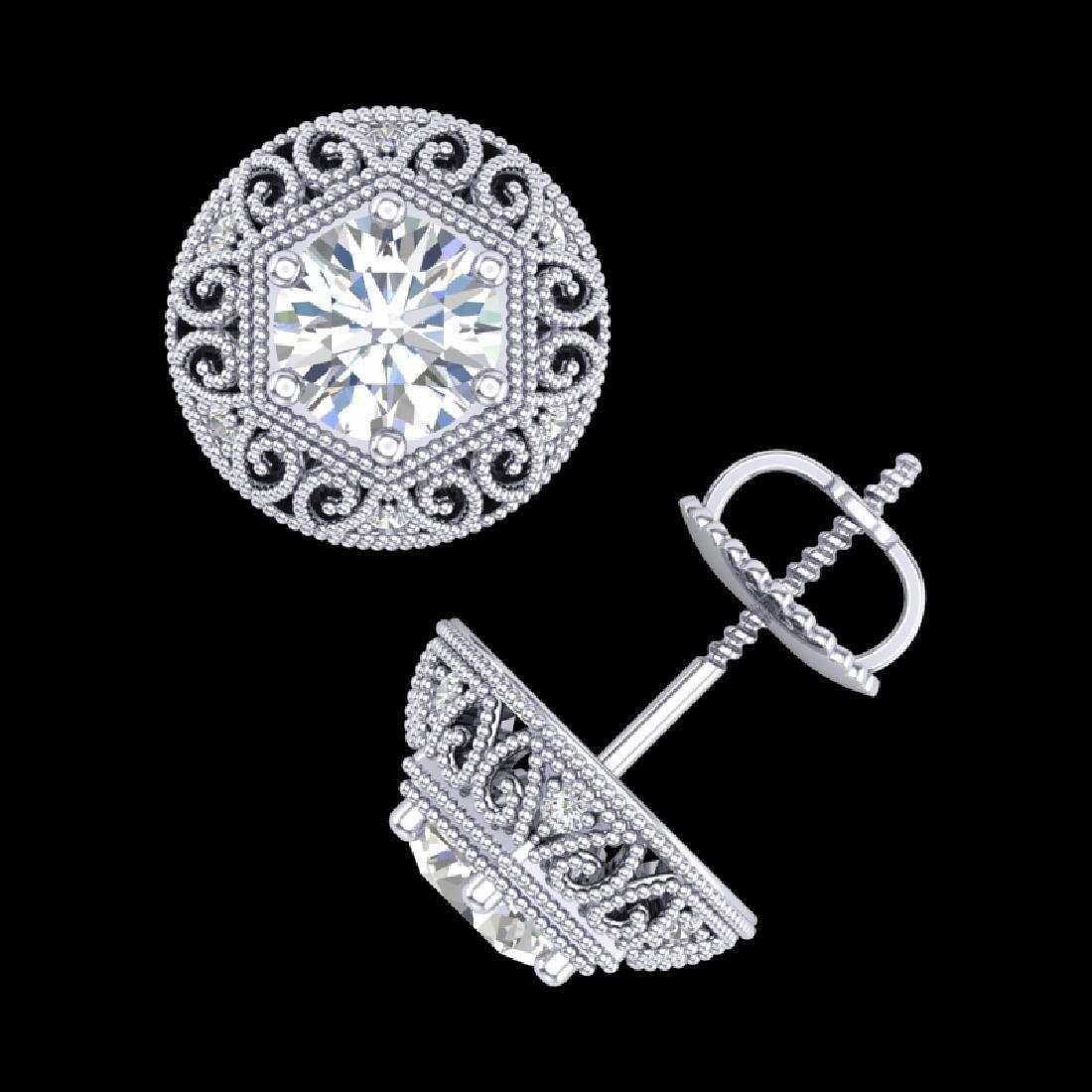1.31 CTW VS/SI Diamond Solitaire Art Deco Stud Earrings - 3