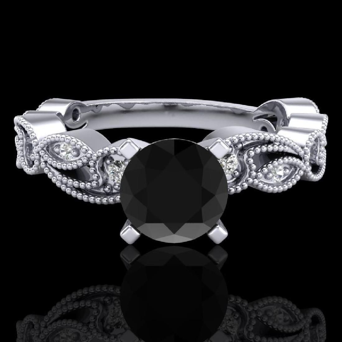 1.01 CTW Fancy Black Diamond Solitaire Engagement Art - 2