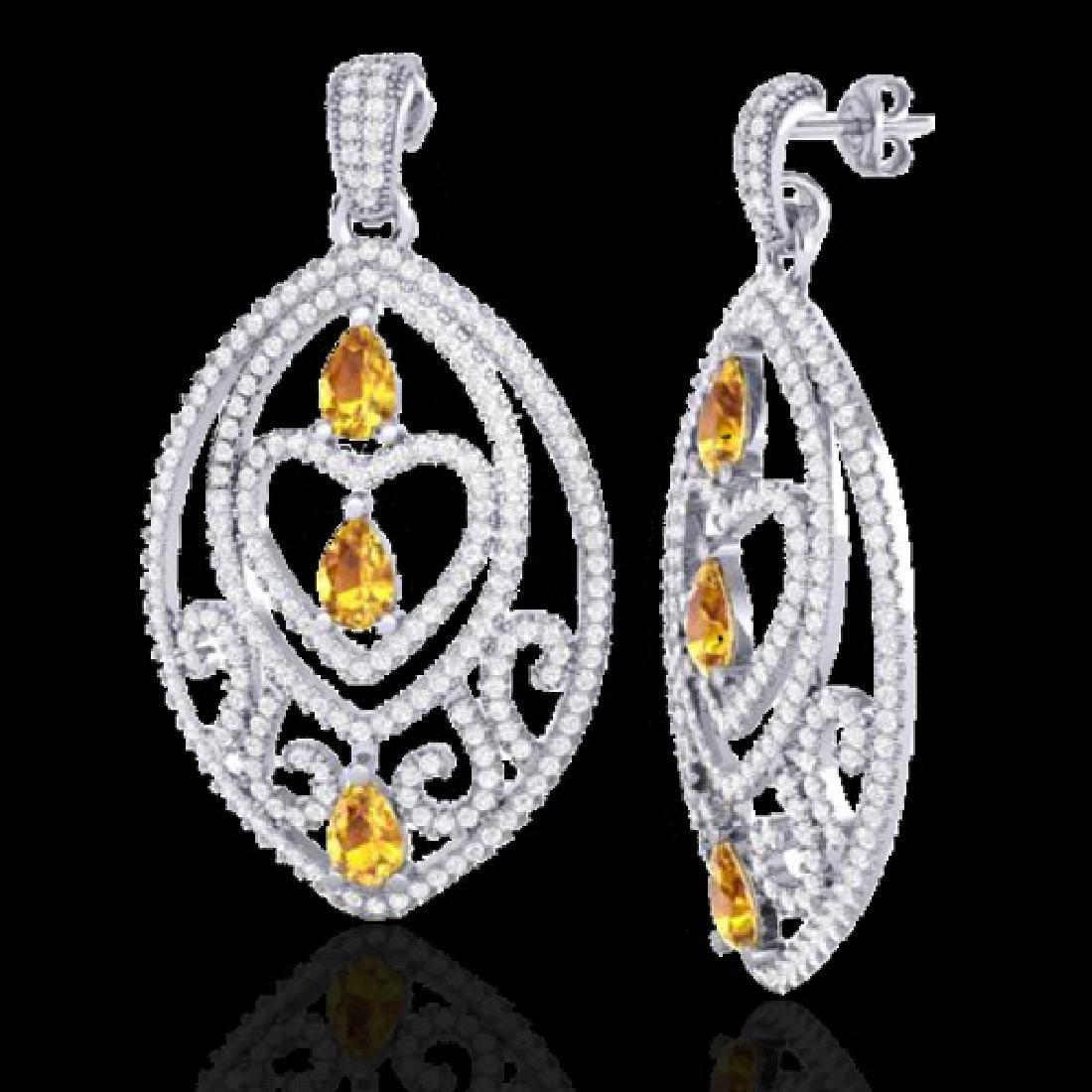 7 CTW Yellow Sapphire & Micro Pave VS/SI Diamond Heart - 2