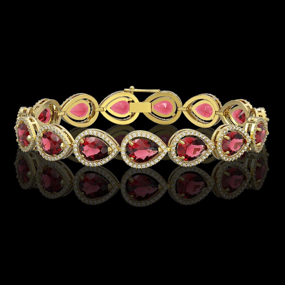 19.7 CTW Tourmaline & Diamond Halo Bracelet 10K Yellow