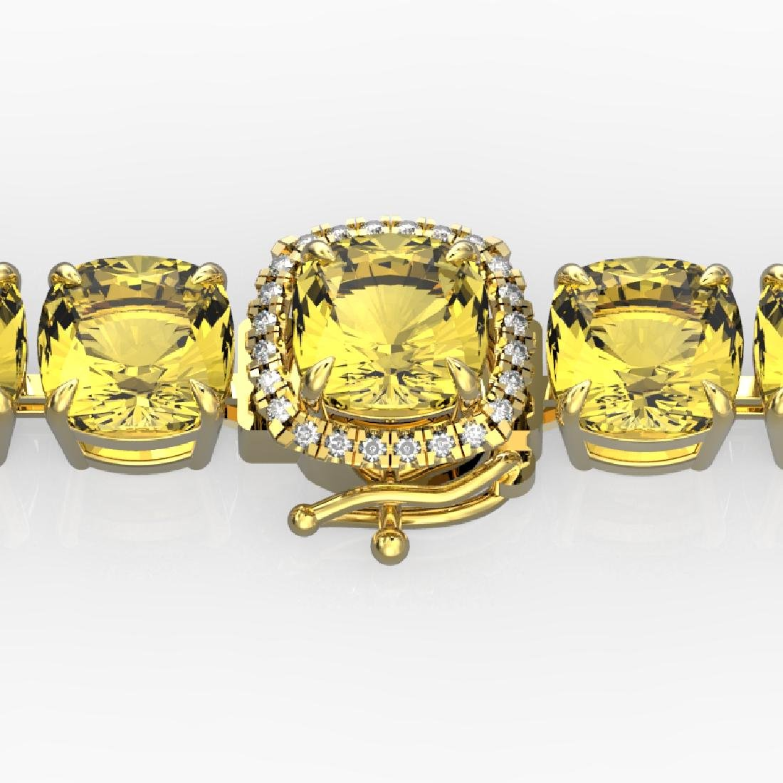 35 CTW Citrine & Micro Pave VS/SI Diamond Halo Bracelet