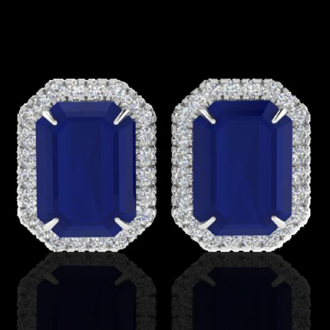 14 CTW Sapphire And Micro Pave VS/SI Diamond Halo