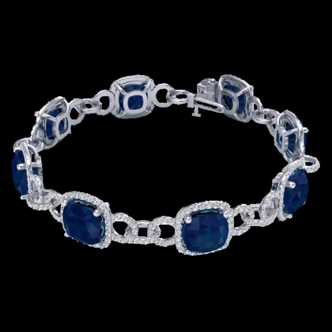 25 CTW Sapphire & Micro VS/SI Diamond Bracelet 14K - 2