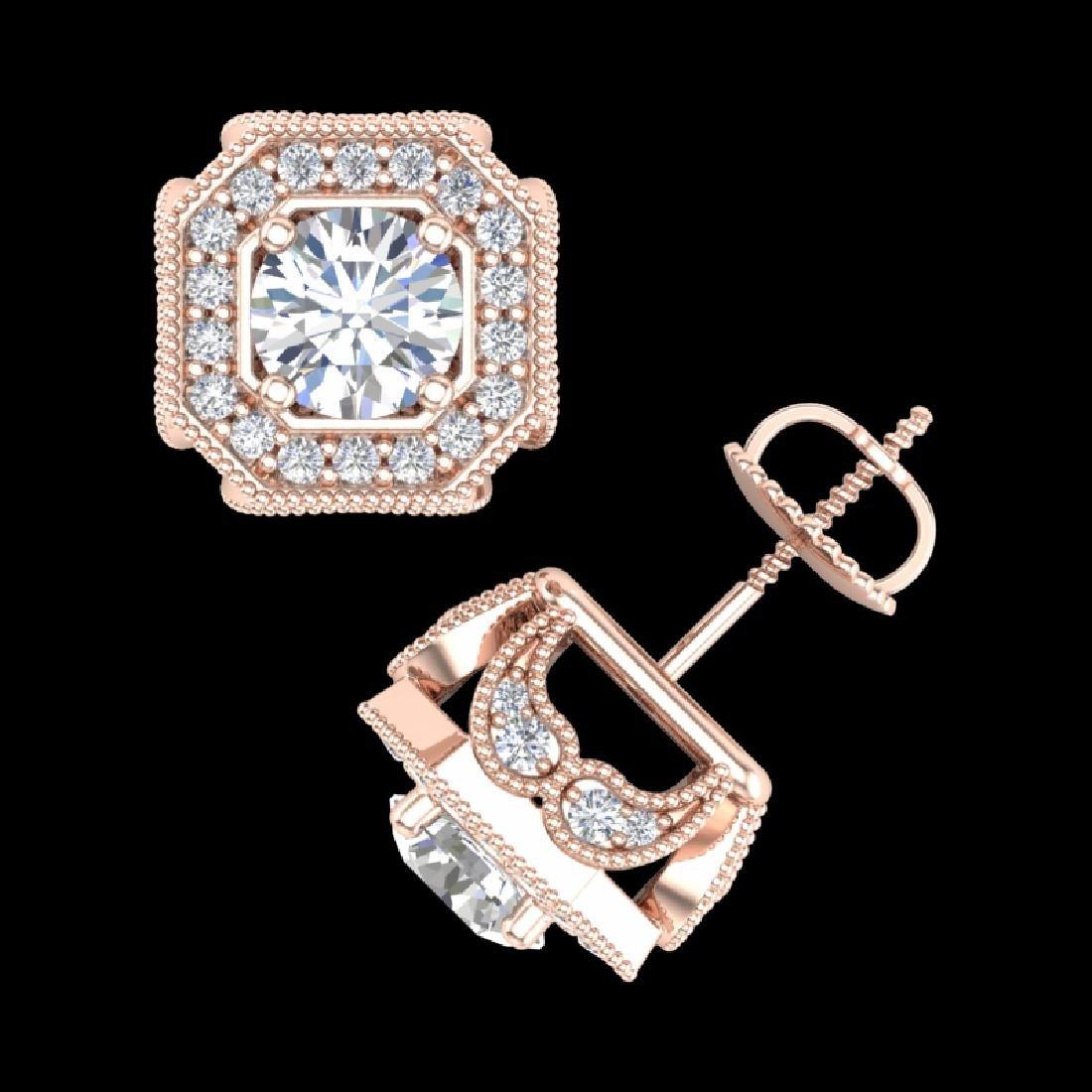 2.75 CTW VS/SI Diamond Solitaire Art Deco Stud Earrings - 3
