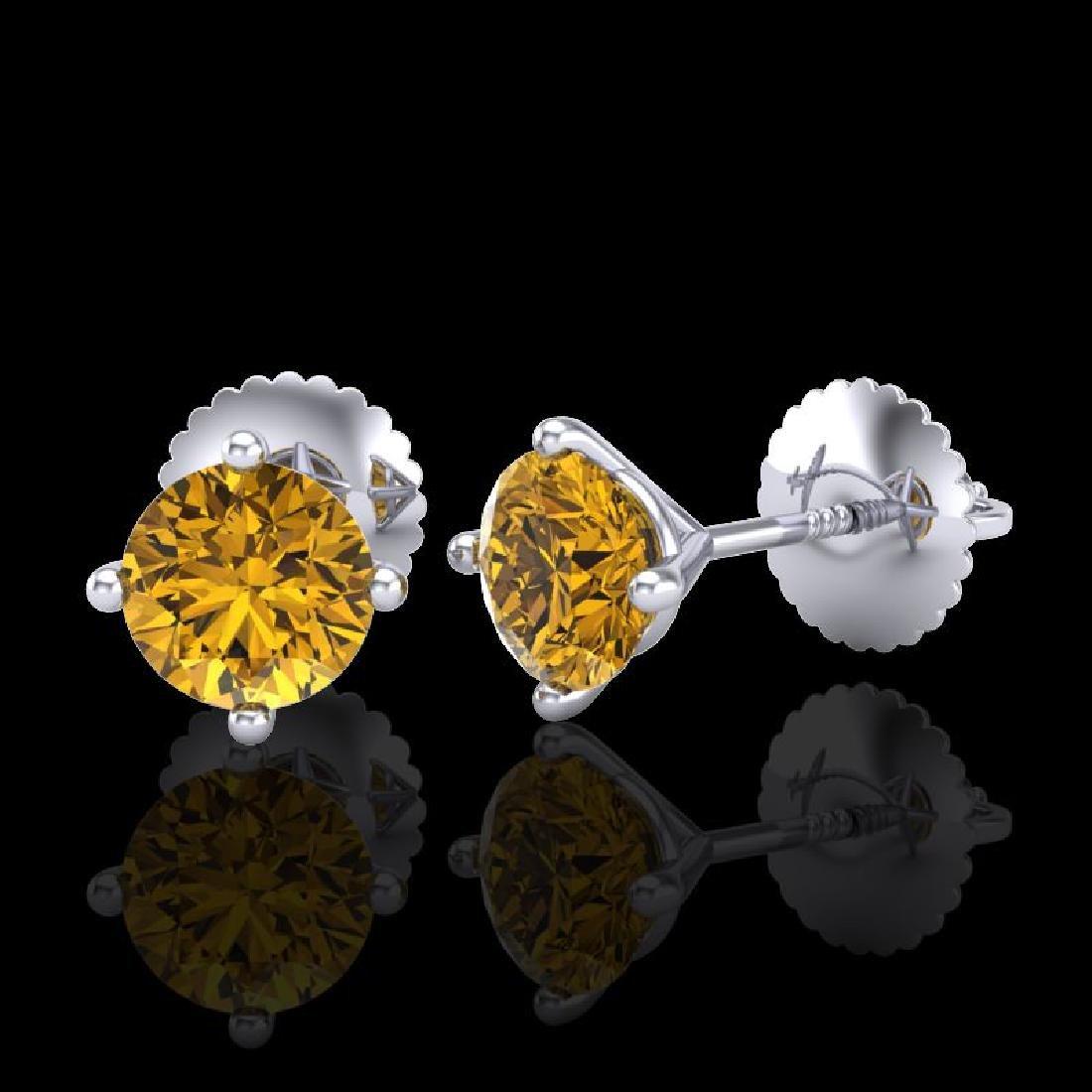 1.01 CTW Intense Fancy Yellow Diamond Art Deco Stud - 2